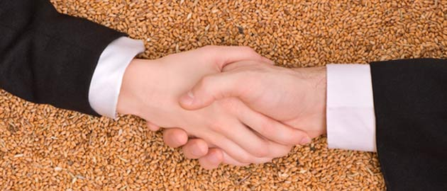Farm Business Management - arms dressed in suits shaking hands over grain