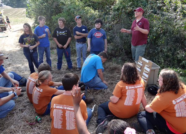Students from Shawnee High School discuss wildlands firefighting.