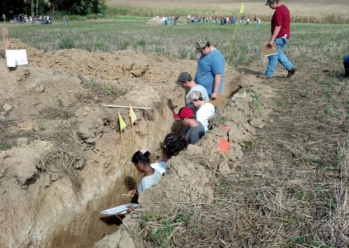 Local high school students participating in the soil judging competition.